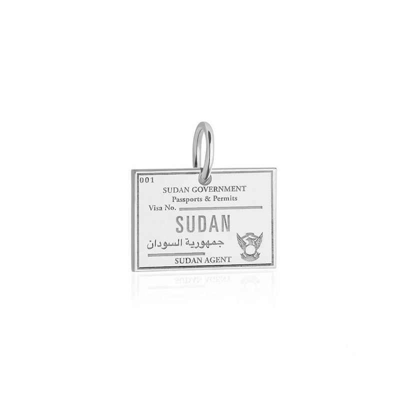 Sterling Silver Travel Charm, Sudan Passport Stamp - JET SET CANDY