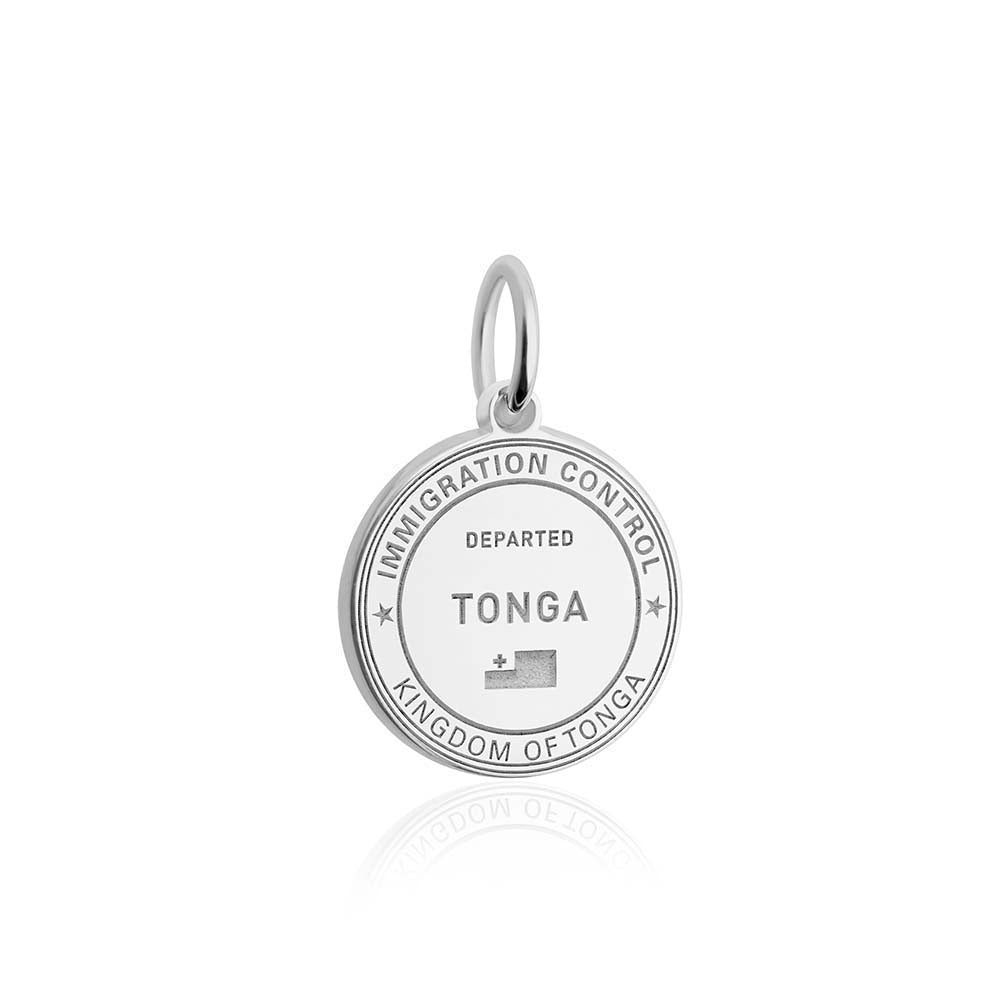 Sterling Silver Travel Charm, Tonga Passport Stamp - JET SET CANDY