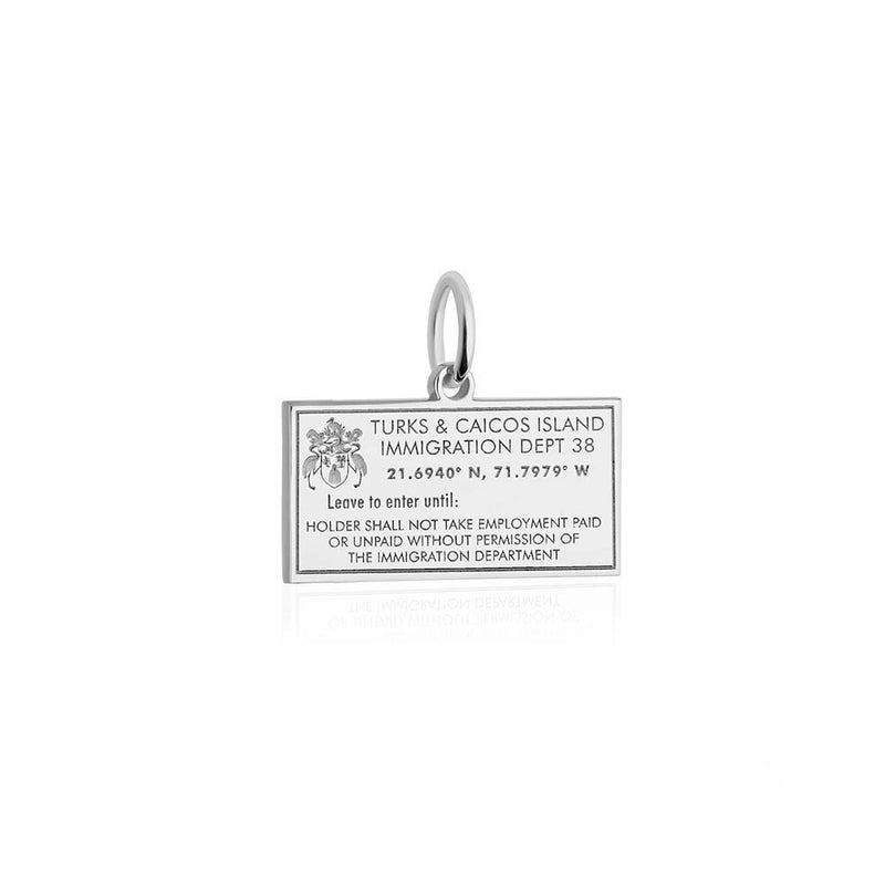 Sterling Silver Charm, Turks & Caicos Passport Stamp - JET SET CANDY