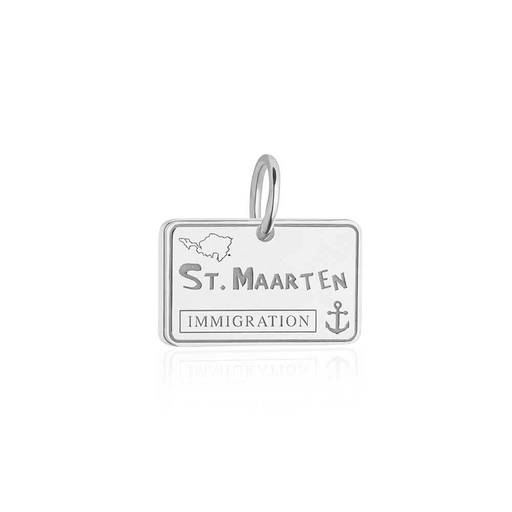 Sterling Silver Saint Maarten Charm, Passport Stamp (SHIPS JUNE) - JET SET CANDY