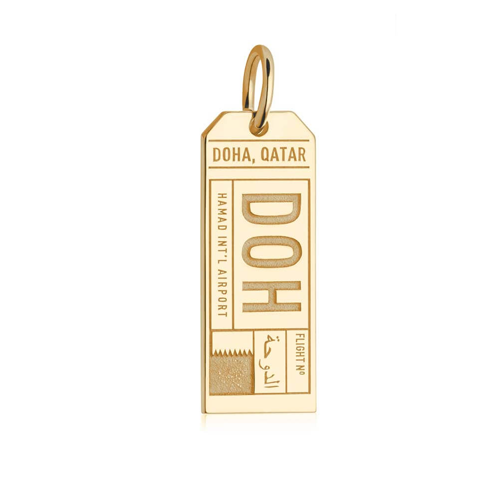 Gold Travel Charm, DOH Doha Luggage Tag - JET SET CANDY