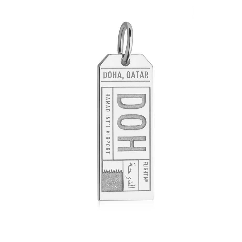 Silver Travel Charm, DOH Doha Luggage Tag - JET SET CANDY