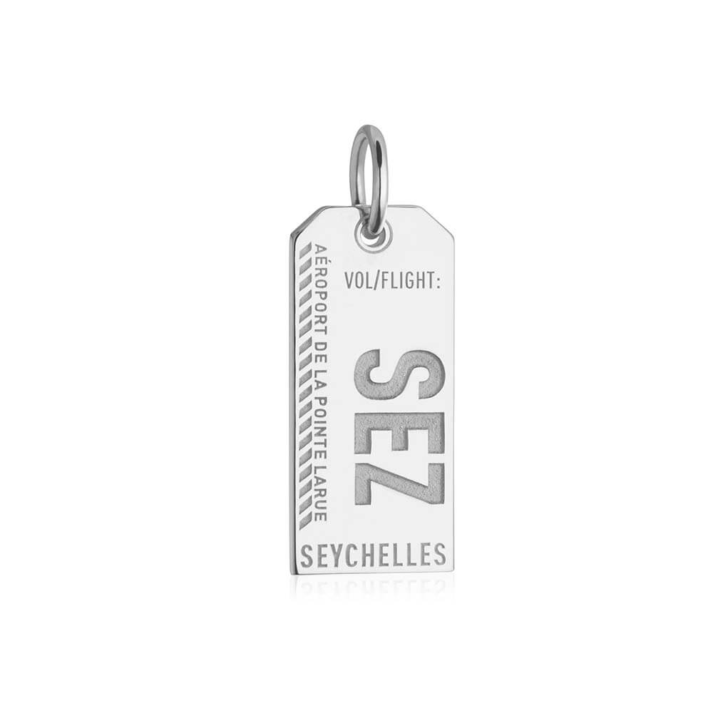 Silver Travel Charm, SEZ Seychelles Luggage Tag - JET SET CANDY