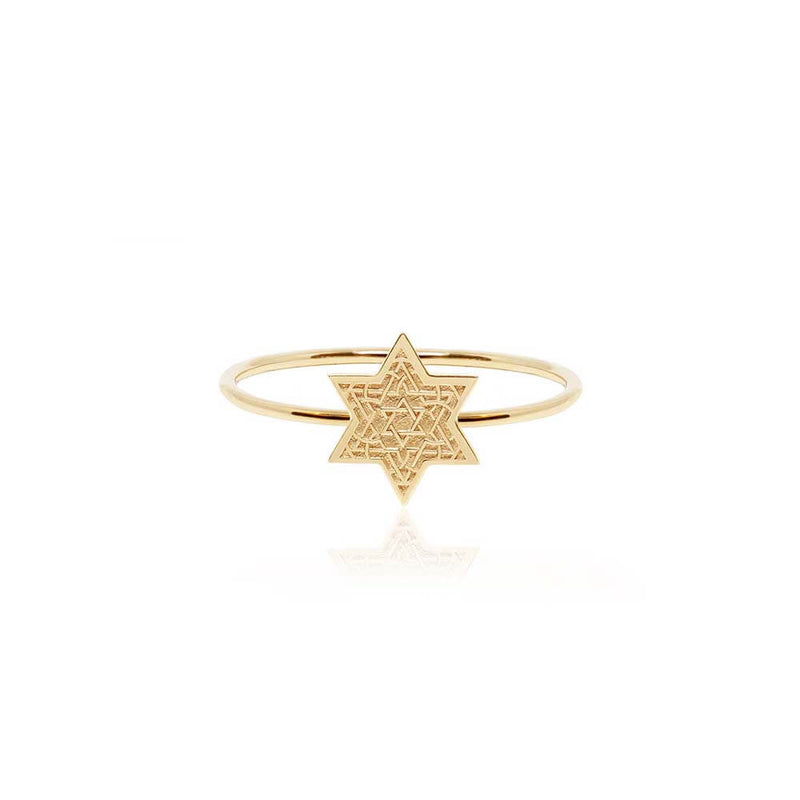 Mini Solid Gold Star of David Ring  (SHIPS JUNE) - JET SET CANDY