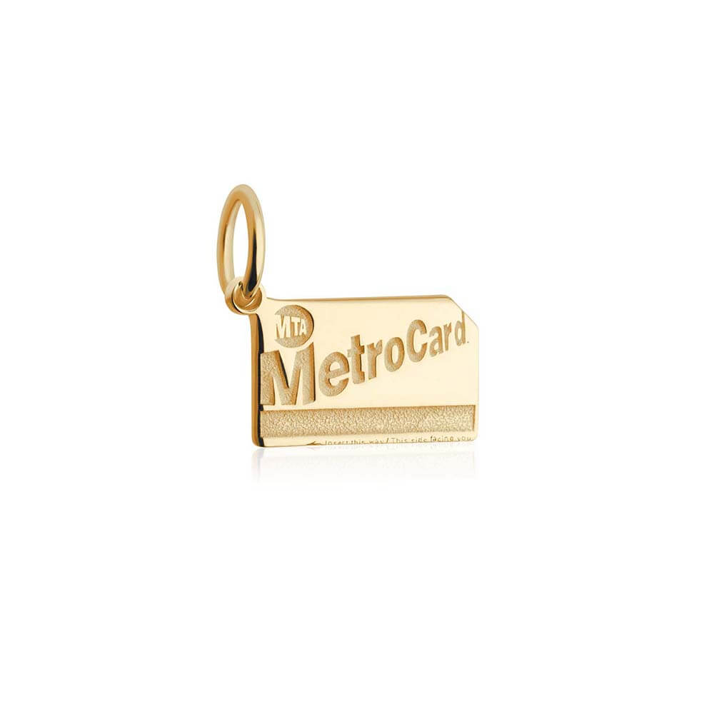 New York Mini Solid Gold Charm, MetroCard (BACK ORDER-SHIPS LATE FEBRUARY) - JET SET CANDY
