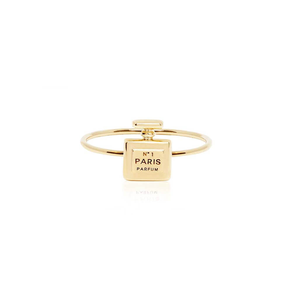 Mini Solid Gold Paris Ring, Perfume Charm - JET SET CANDY