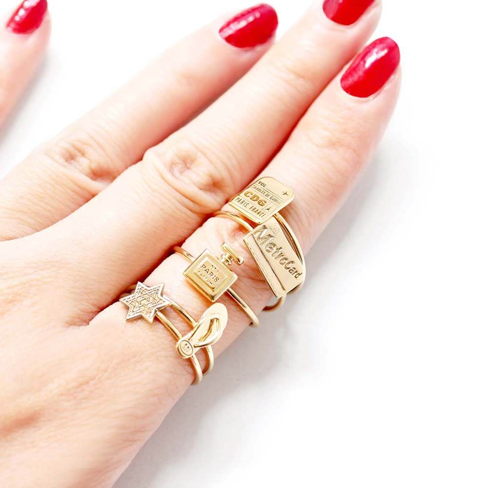 Mini Solid Gold New York Ring, MetroCard (BACK ORDER-SHIPS LATE FEBRUARY) - JET SET CANDY