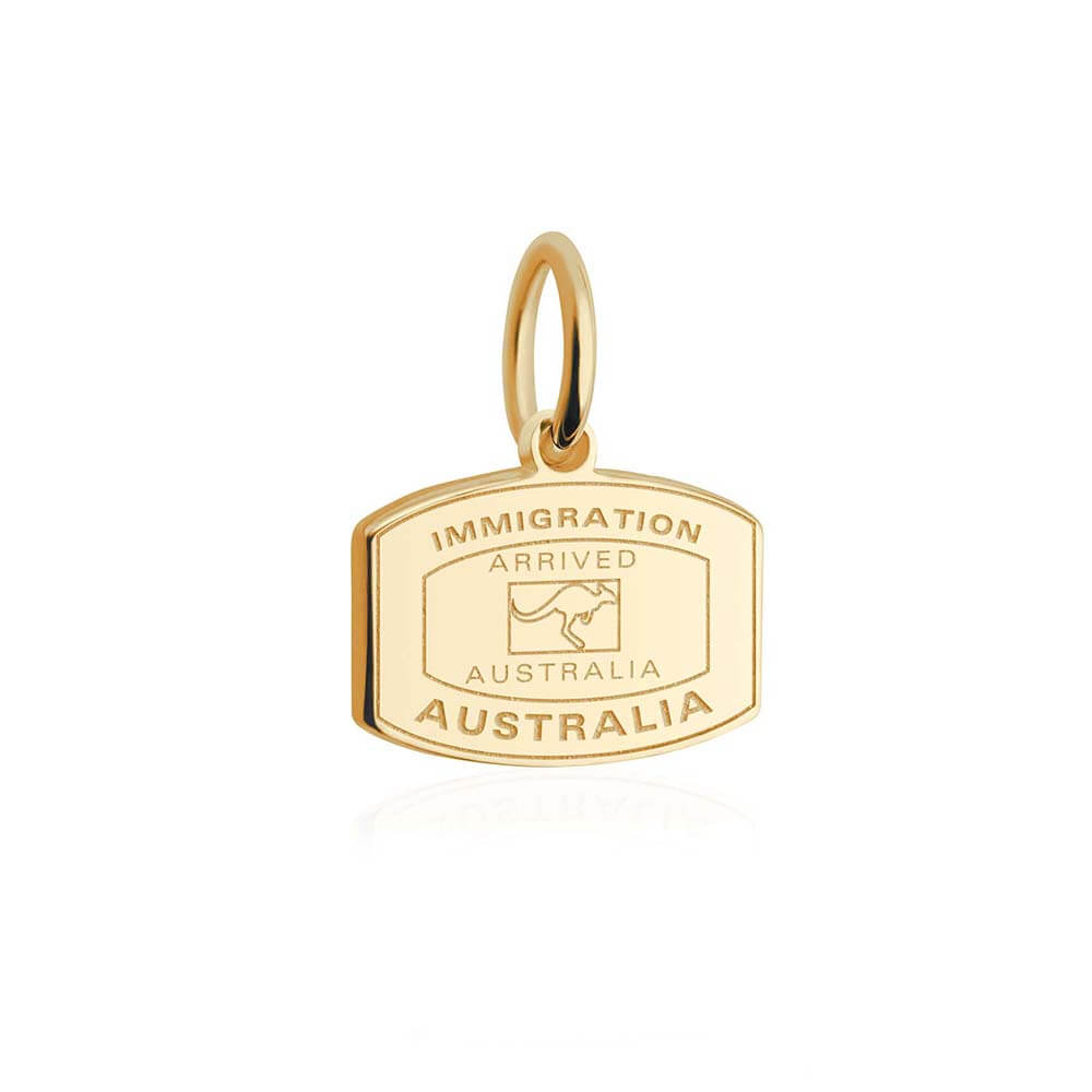 Solid Gold Mini Charm, Passport Stamp: Australia - JET SET CANDY