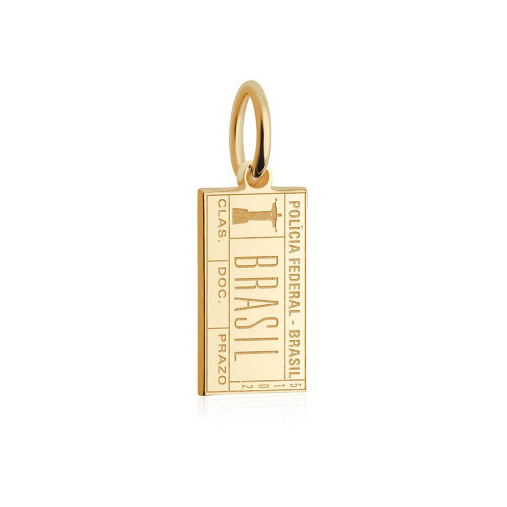 Solid Gold Mini Charm, Passport Stamp: Brazil - JET SET CANDY