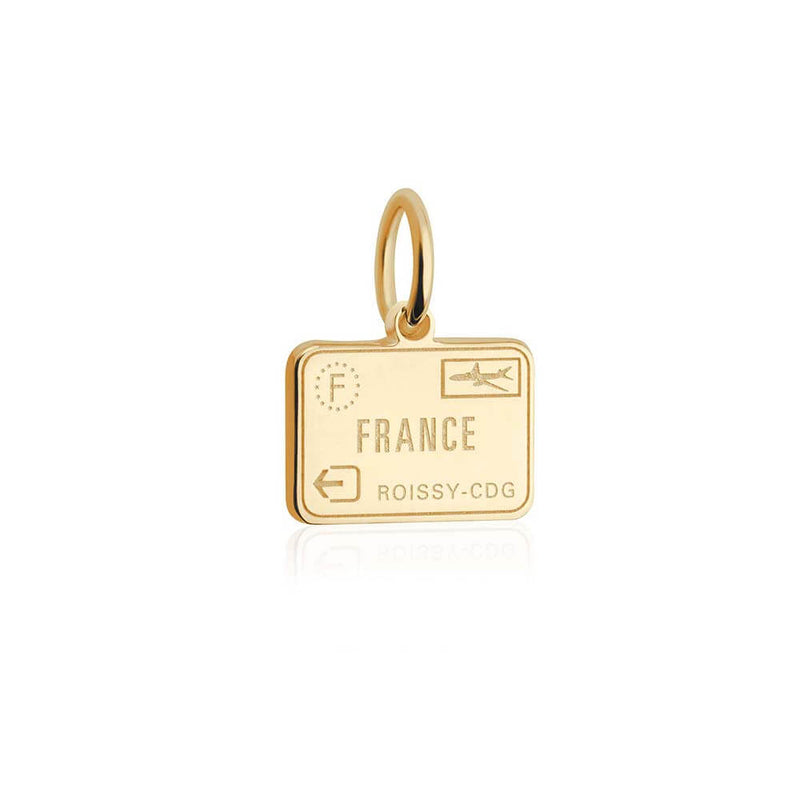 Solid Gold Mini Charm, Passport Stamp: France - JET SET CANDY