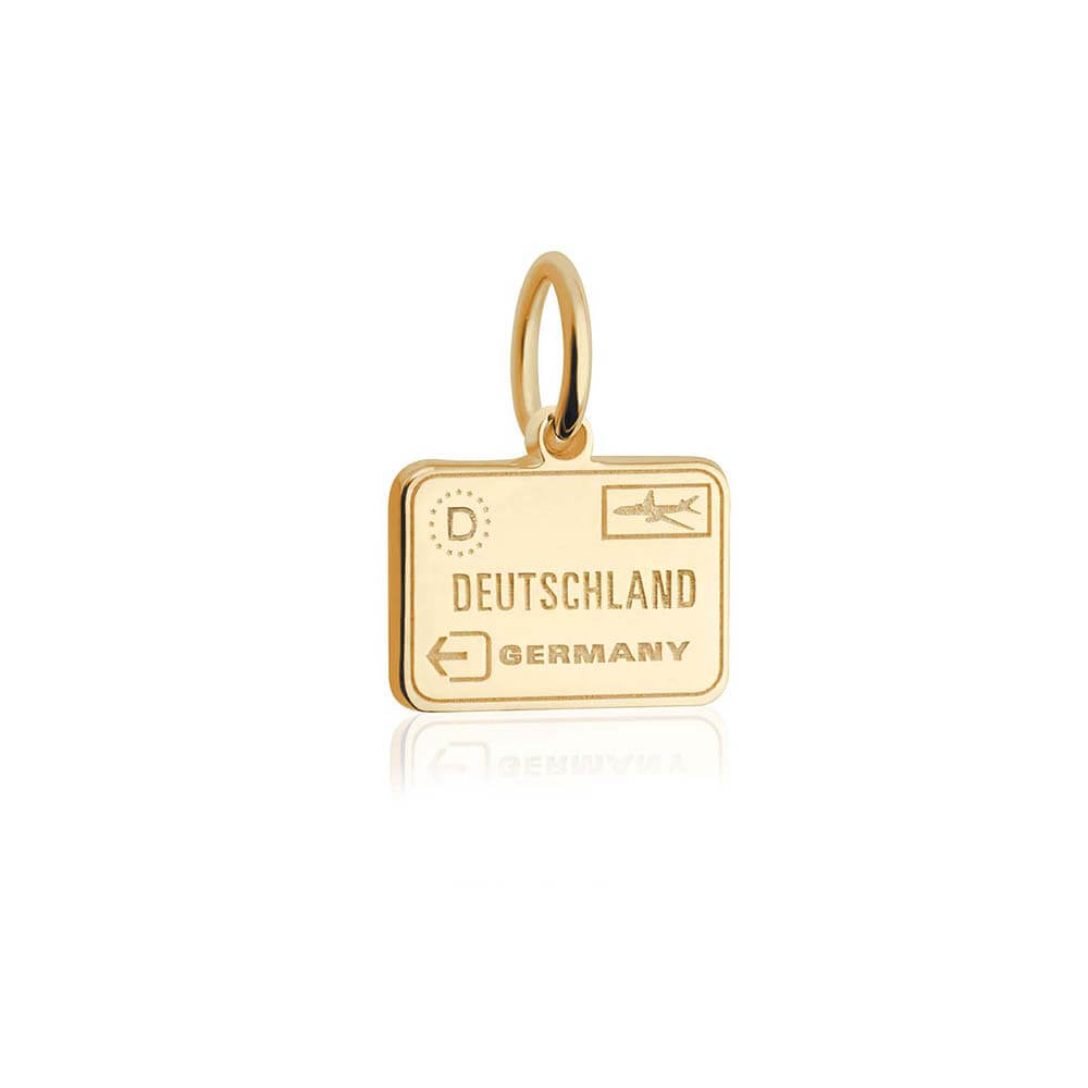 Solid Gold Mini Charm, Passport Stamp: Germany - JET SET CANDY