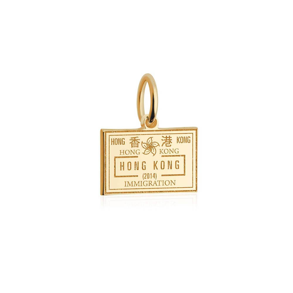 Solid Gold Mini Charm, Passport Stamp: Hong Kong - JET SET CANDY