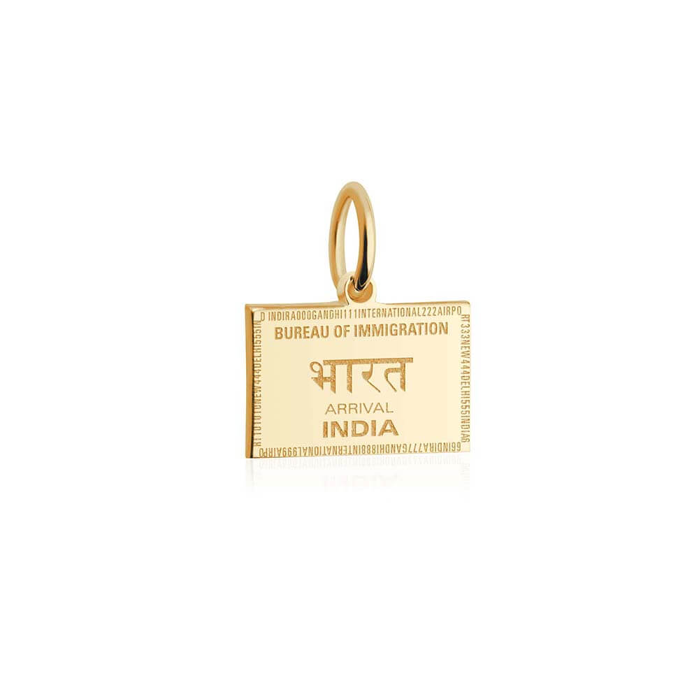 Solid Gold Mini Charm, Passport Stamp: India - JET SET CANDY