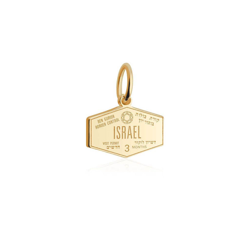Solid Gold Mini Charm, Passport Stamp: Israel (SHIPS JUNE) - JET SET CANDY