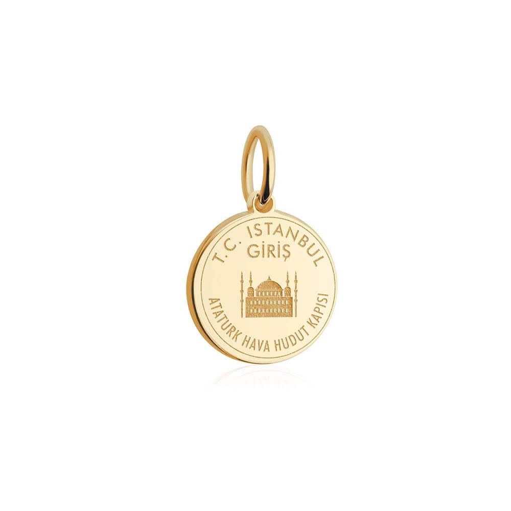 Solid Gold Mini Charm, Turkey Passport Stamp - JET SET CANDY