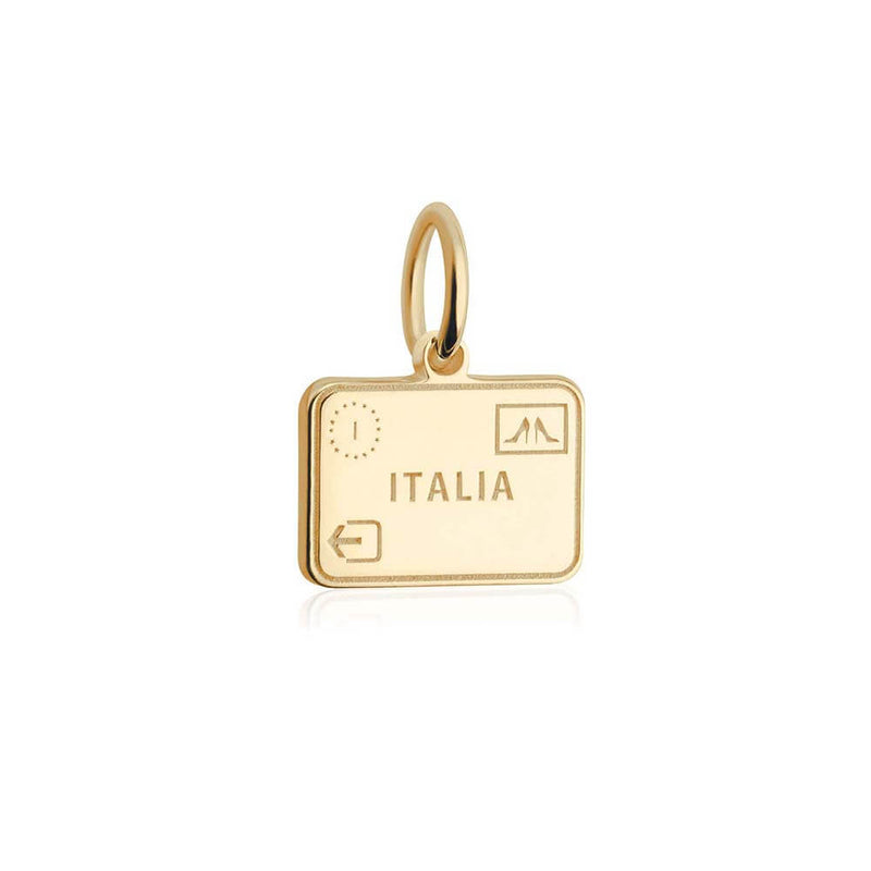 Solid Gold Mini Italy Charm, Passport Stamp (BACK ORDER-SHIPS LATE FEBRUARY) - JET SET CANDY