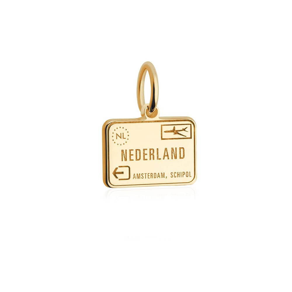 Mini Solid Gold Netherlands Charm, Passport Stamp - JET SET CANDY
