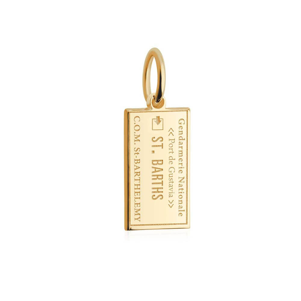 Solid Gold Mini Charm, Passport Stamp: St. Barths - JET SET CANDY