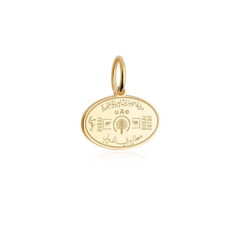 Solid Gold Mini Charm, Passport Stamp: United Arab Emirates - JET SET CANDY