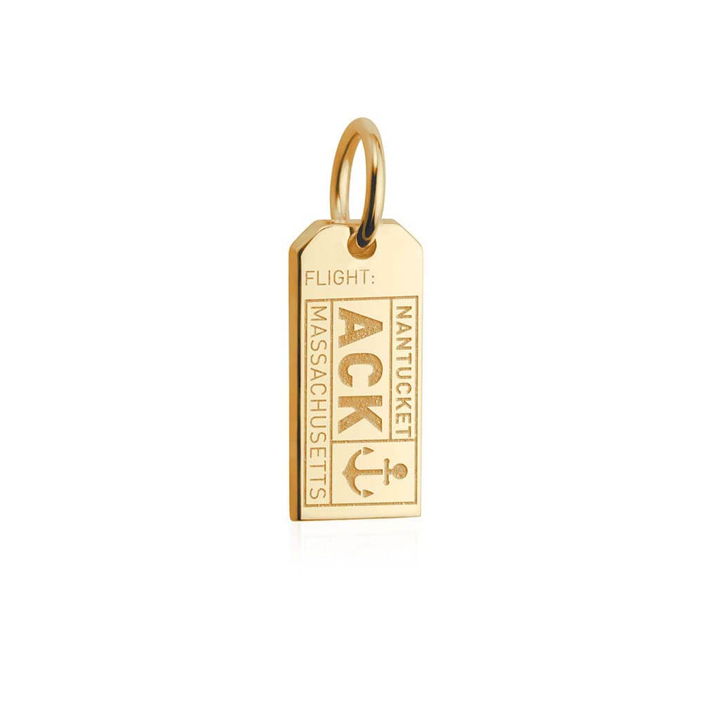 Solid Gold Mini Nantucket Charm, ACK Luggage Tag - JET SET CANDY