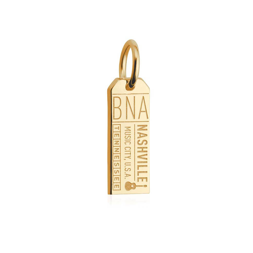 Solid Gold Mini Nashville Charm, BNA Luggage Tag - JET SET CANDY
