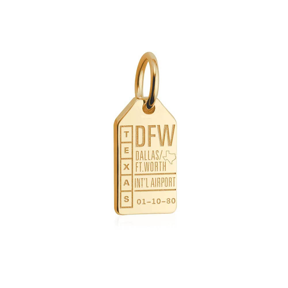 Solid Gold Mini Texas Charm, DFW Dallas Luggage Tag - JET SET CANDY