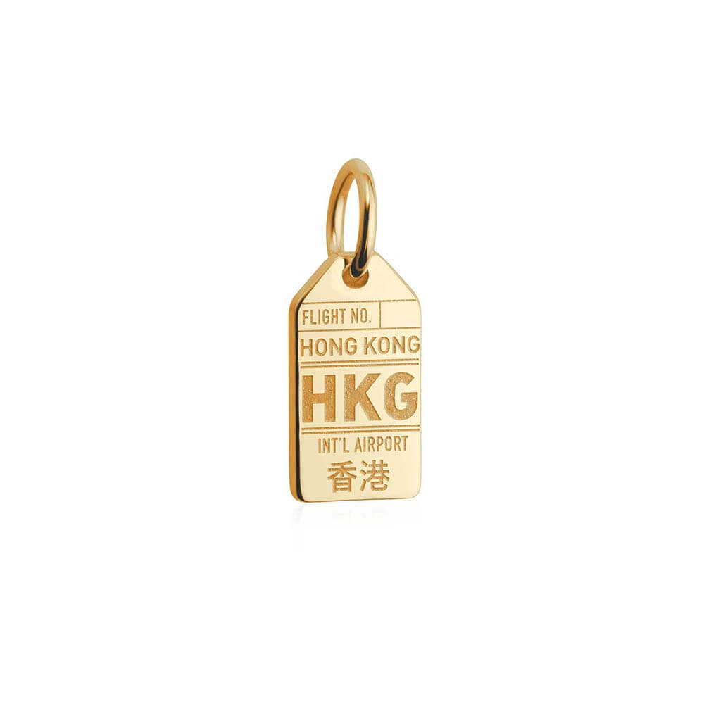 Solid Gold Mini Charm, HKG Hong Kong Luggage Tag - JET SET CANDY
