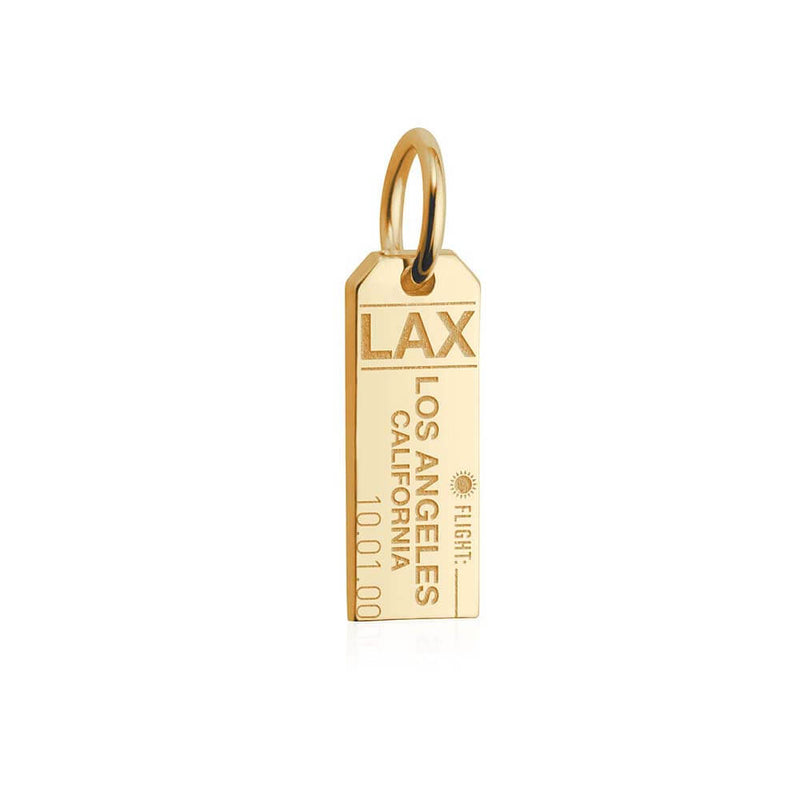 Mini Solid Gold Los Angeles Charm, LAX Luggage Tag - JET SET CANDY