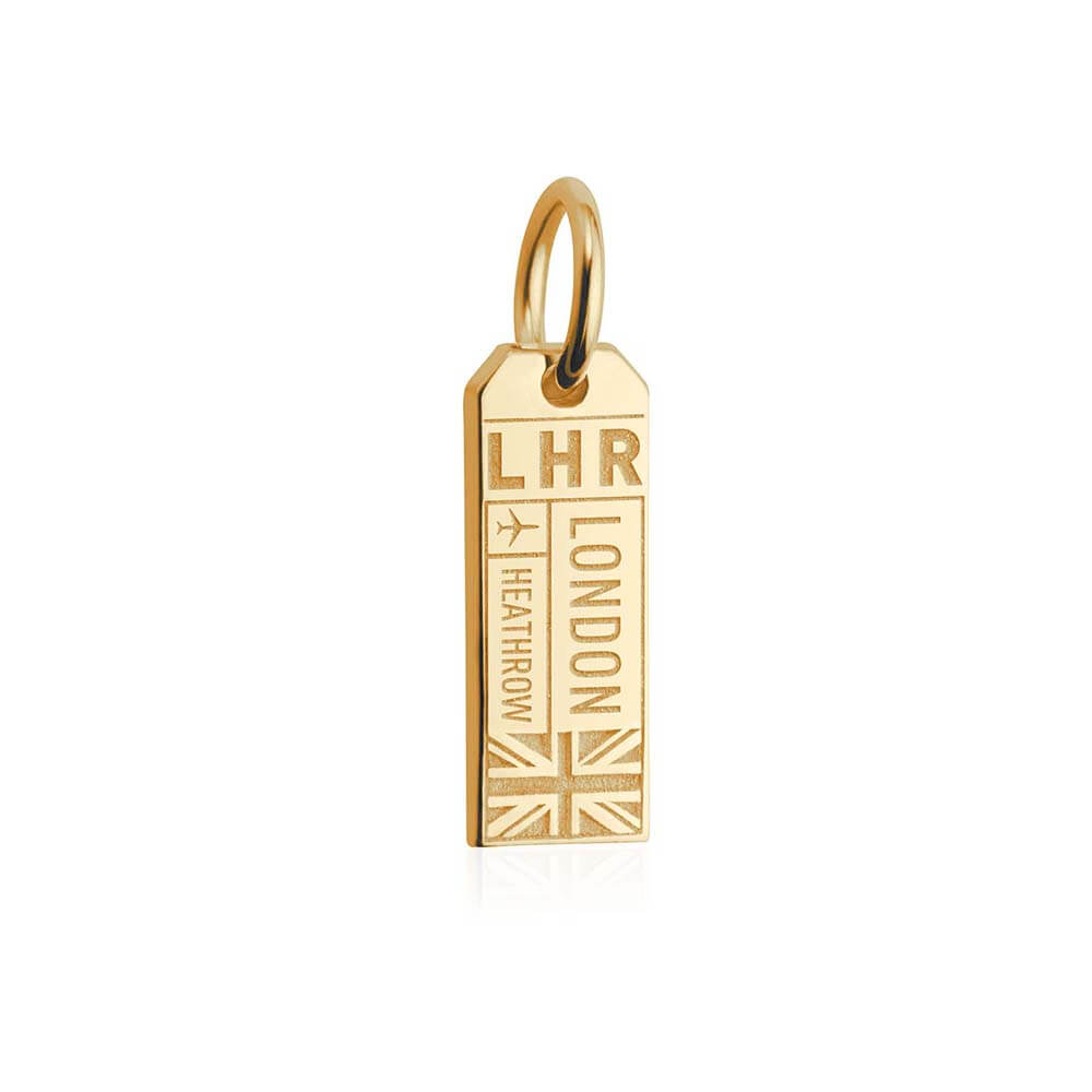 Solid Gold London Mini Charm, LHR Luggage Tag - JET SET CANDY