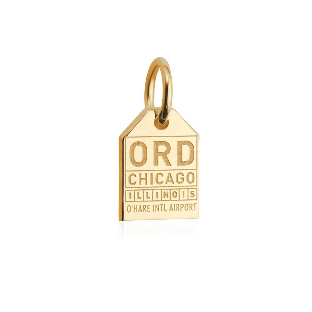 Mini Solid Gold Chicago Luggage Tag Charm - JET SET CANDY