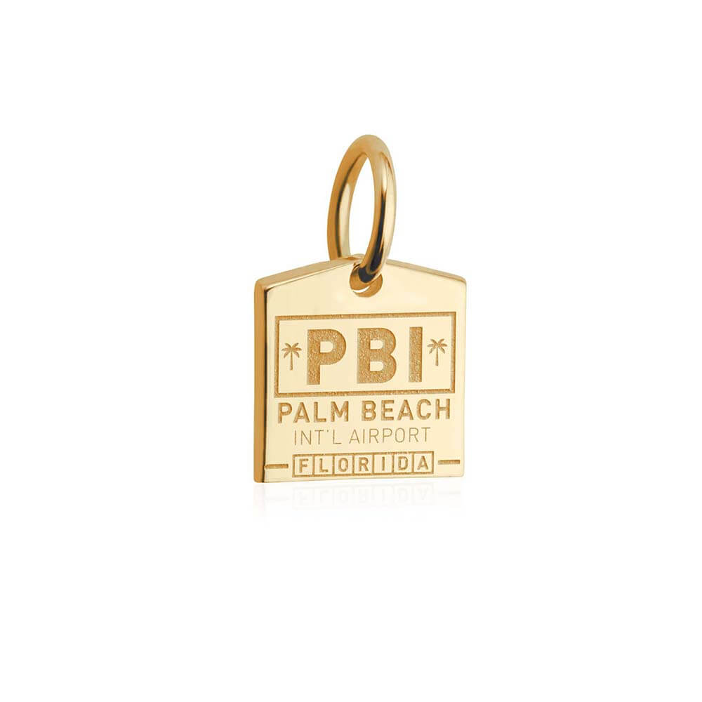 Mini Solid Gold Palm Beach Charm, PBI Luggage Tag - JET SET CANDY