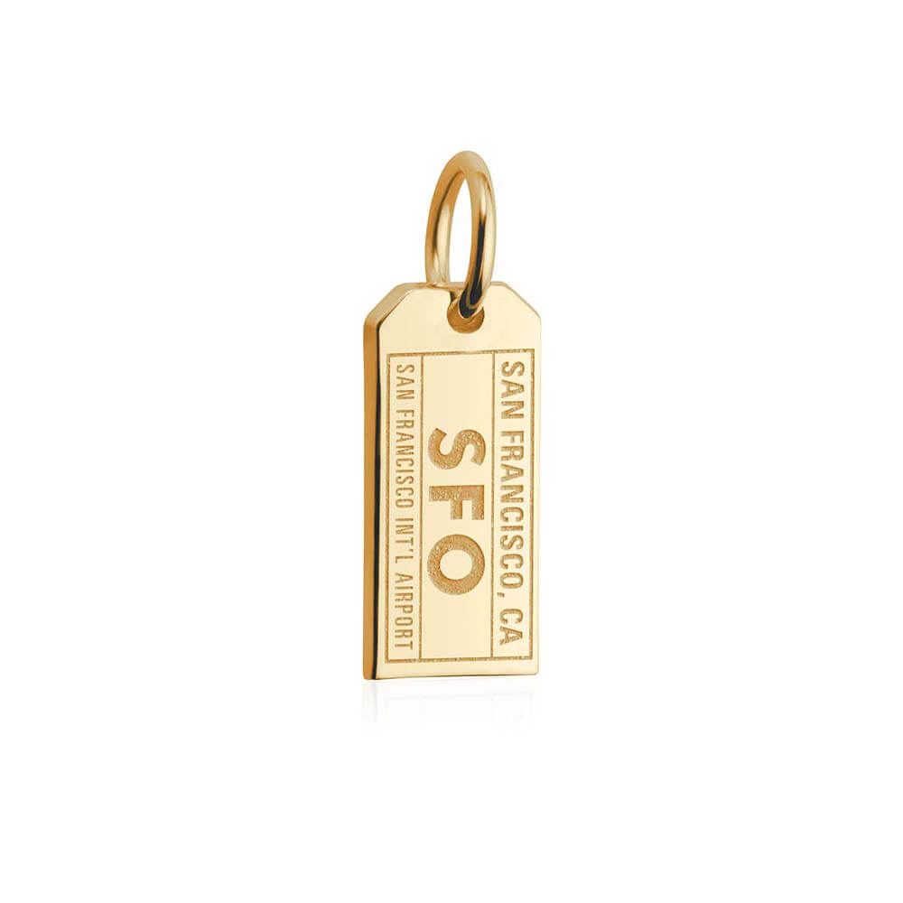 Mini Solid Gold San Francisco Charm, SFO Luggage Tag - JET SET CANDY