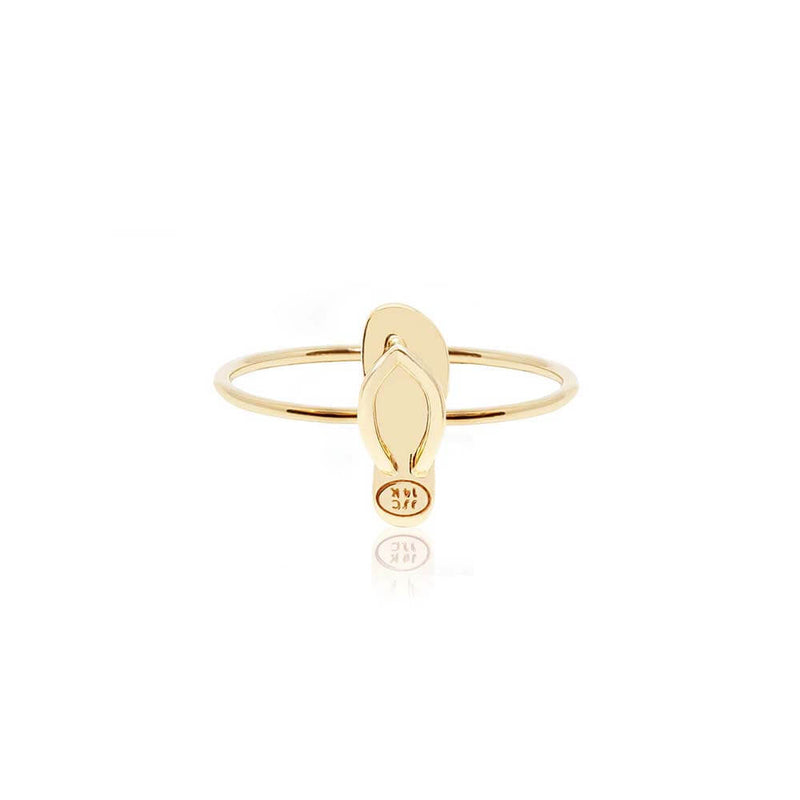 Mini Solid Gold Ring, Flip-Flop - JET SET CANDY