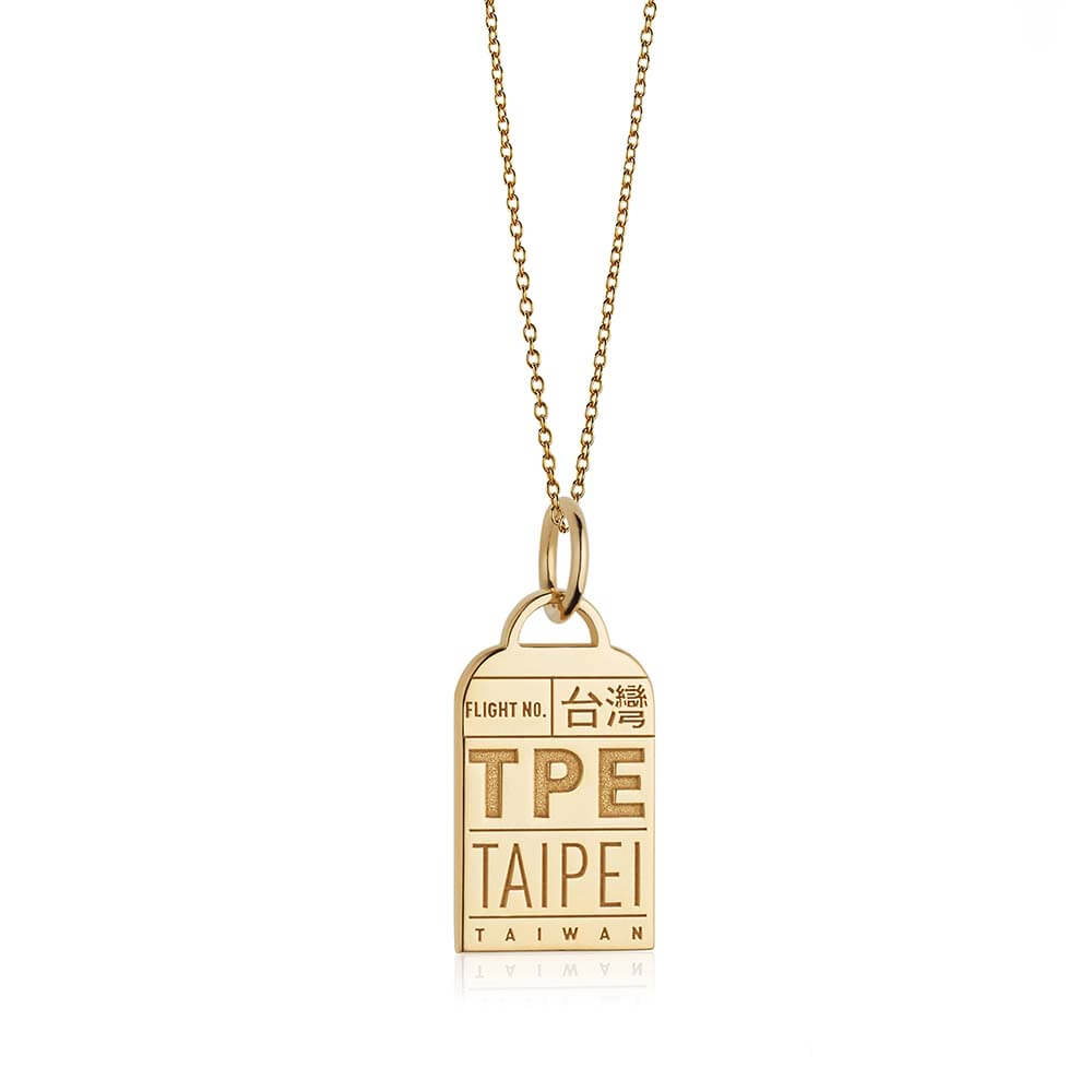 Gold Asia Charm, TPE Taipei Luggage Tag - JET SET CANDY