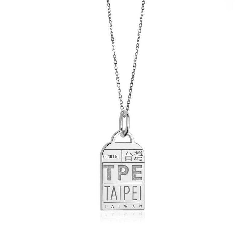 Silver Asia Charm, TPE Taipei Luggage Tag - JET SET CANDY