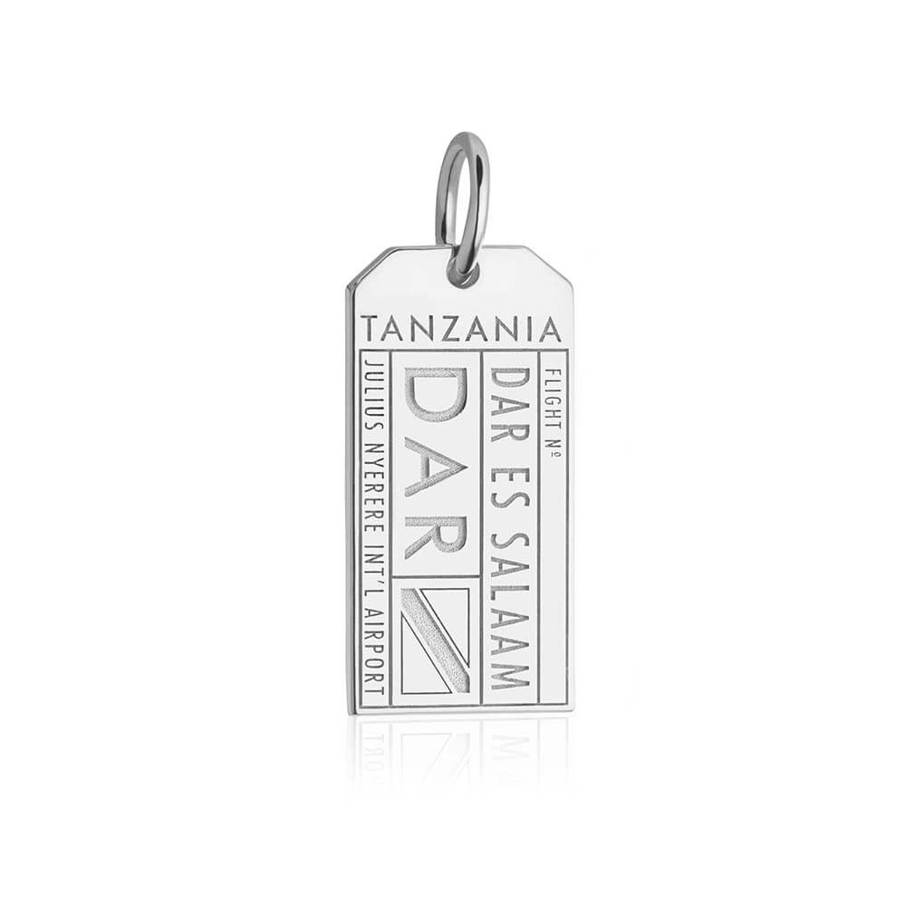 Silver Travel Charm, DAR Tanzania Luggage Tag - JET SET CANDY
