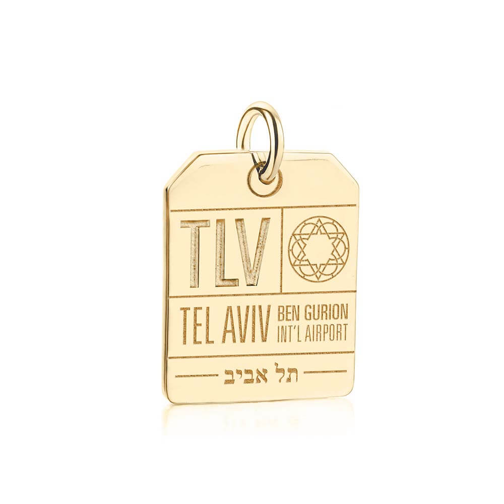 Gold Israel Charm, TLV Tel Aviv Luggage Tag - JET SET CANDY