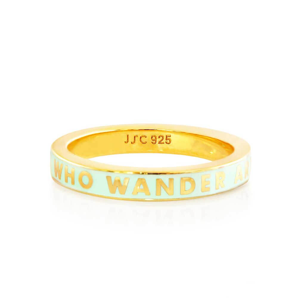 "Mint Enamel Gold ""Not All Those That Wander Are Lost"" Ring (BACK ORDER-SHIPS MARCH) - JET SET CANDY"