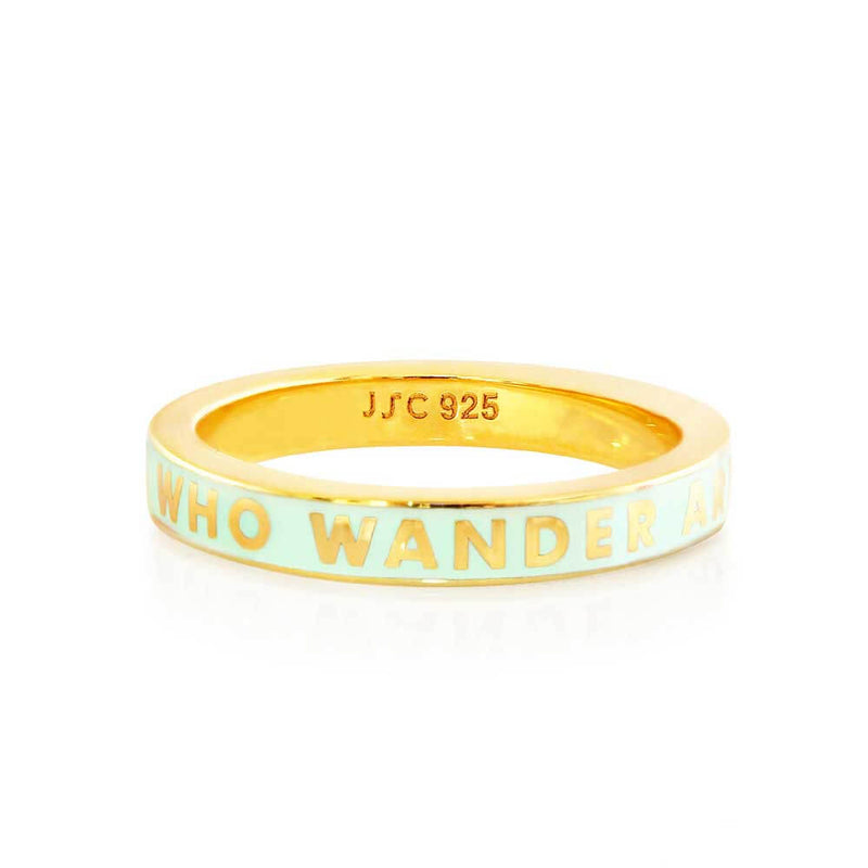"Mint Enamel Gold ""Not All Those That Wander Are Lost"" Ring - JET SET CANDY"