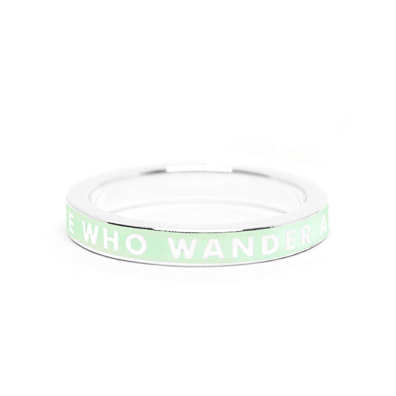 "Mint Enamel Silver ""Not All Those That Wander Are Lost"" Ring - JET SET CANDY"