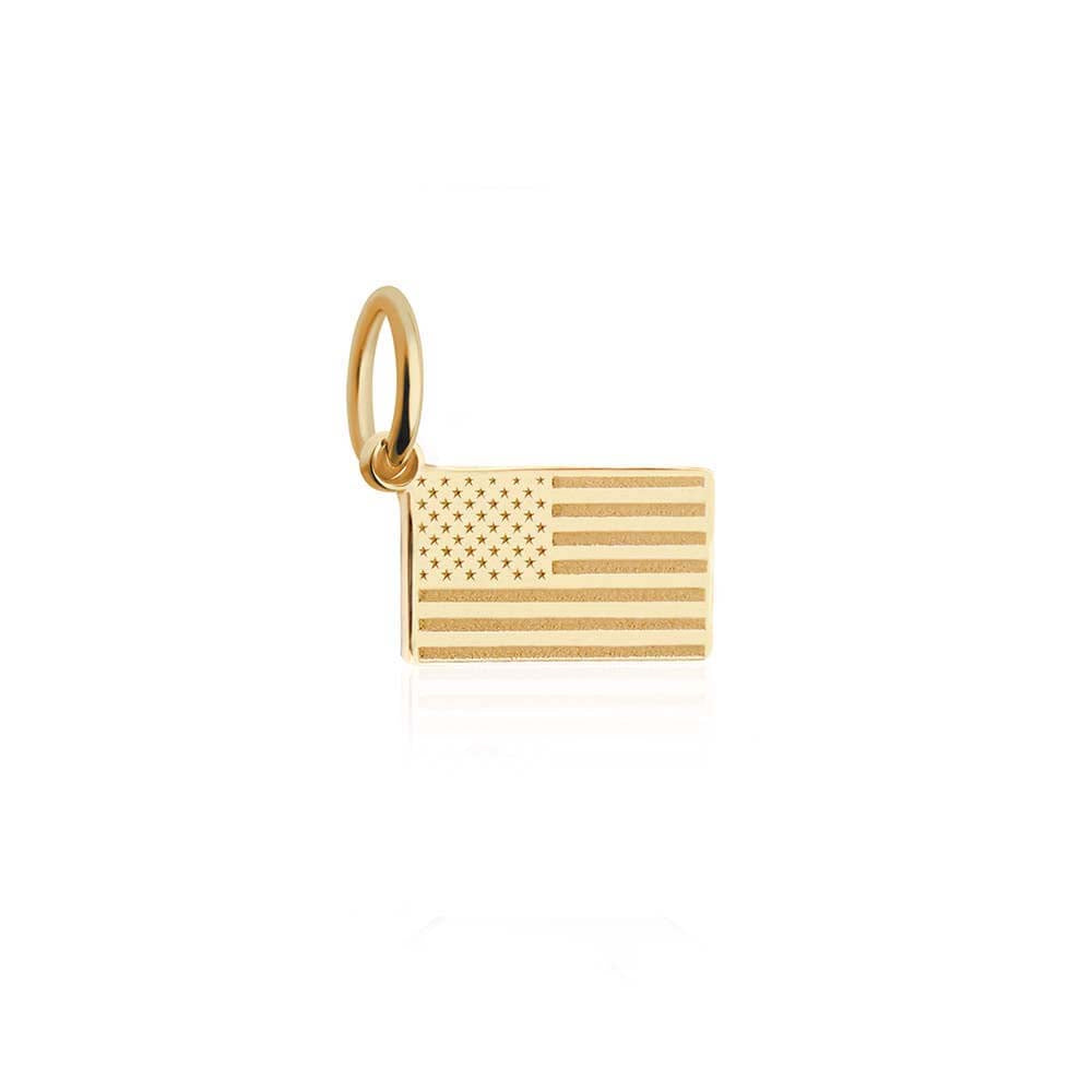 Mini Solid Gold USA Flag Charm