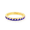 Navy Blue Enamel Wave Ring in Gold - JET SET CANDY