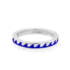 Navy Blue Enamel Wave Ring in Sterling Silver - JET SET CANDY