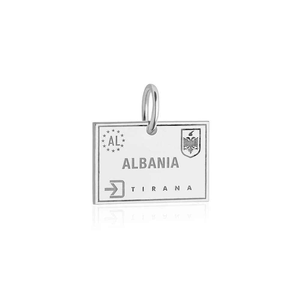 Sterling Silver Travel Charm, Albania Passport Stamp - JET SET CANDY