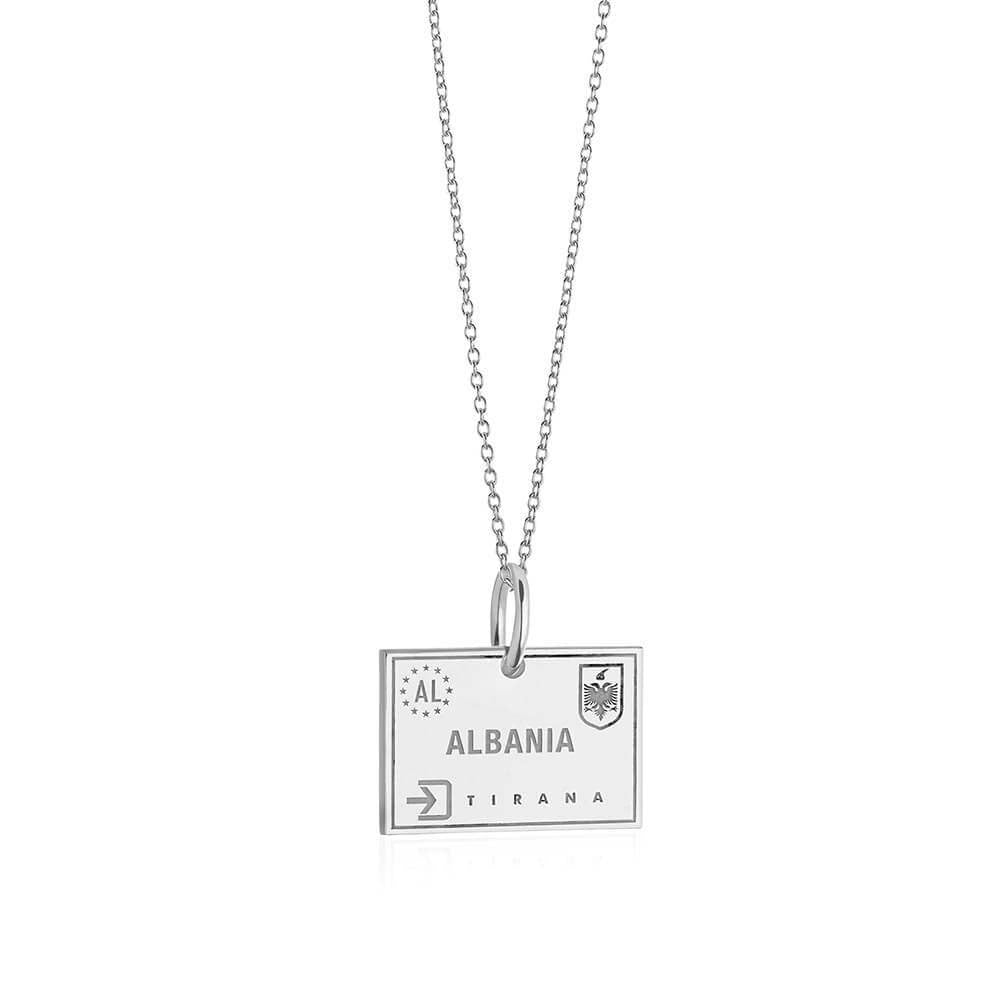 Sterling Silver Travel Charm, Albania Passport Stamp (SHIPS JUNE) - JET SET CANDY