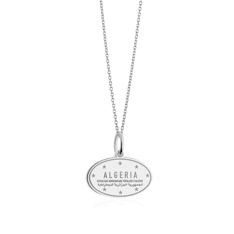Sterling Silver Travel Charm, Algeria Passport Stamp - JET SET CANDY