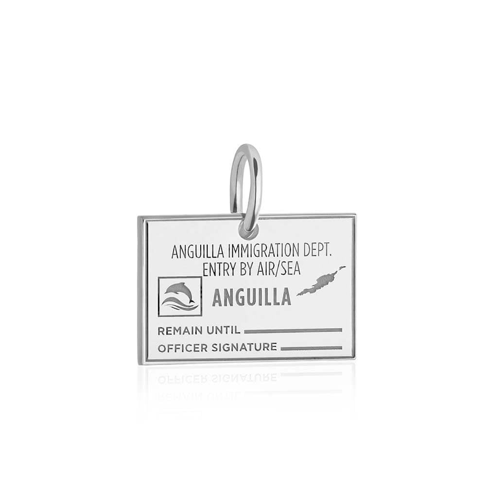 Sterling Silver Travel Charm, Anguilla Passport Stamp - JET SET CANDY