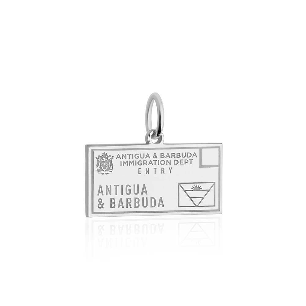 Sterling Silver Travel Charm, Antigua and Barbuda Passport Stamp - JET SET CANDY