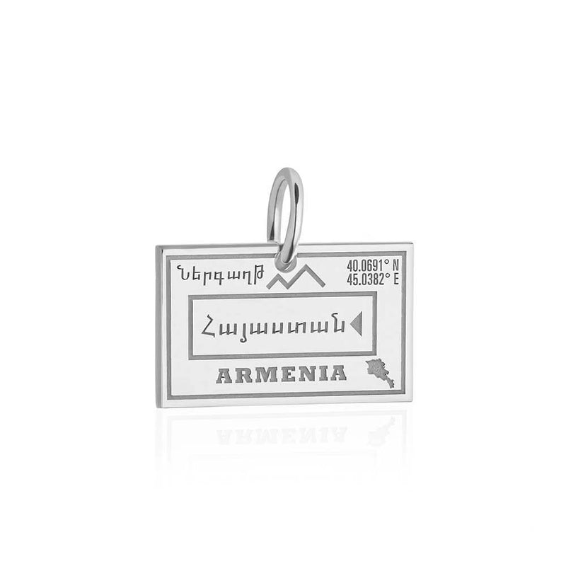 Sterling Silver Travel Charm, Armenia Passport Stamp - JET SET CANDY