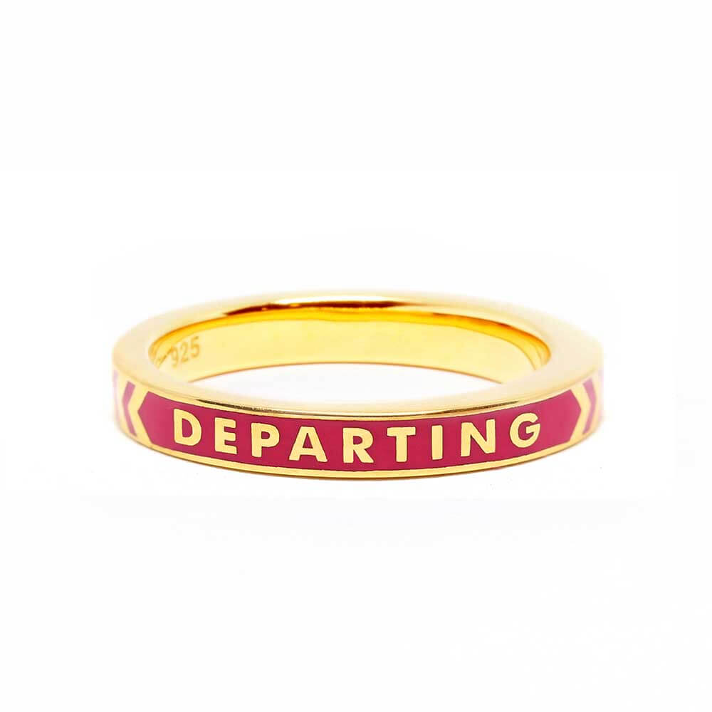 Pink Enamel Ring in Gold, Arriving Departing - JET SET CANDY